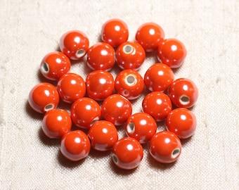 Ceramic porcelain round beads iridescent 10mm 100pc - Orange