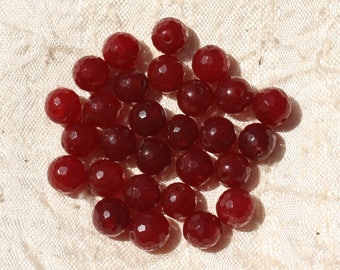 10pc - beads - Jade balls faceted 8mm red Bordeaux - 4558550017673