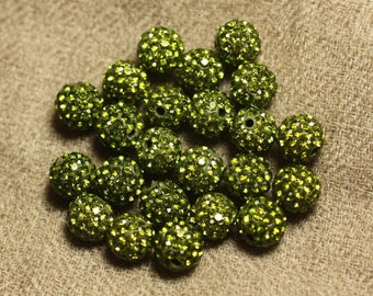 10pc - polymer and rhinestone 8mm 4558550023124 Olive green glass bead