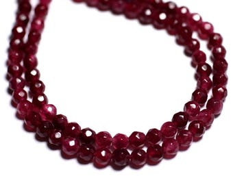 Stone - Fuchsia raspberry pink Jade beads 20pc - faceted balls 4mm 4558550008695