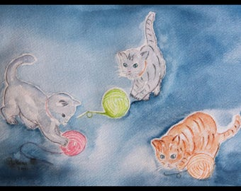 Original illustration painted in watercolor on arches 300 g/m²les three cats