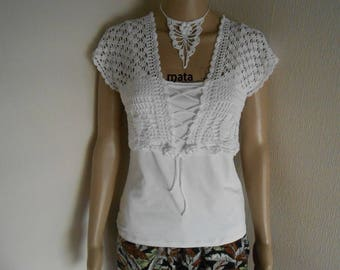 romantic Bolero lace white cotton crocheted 38