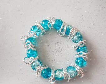 Blue and Clear Bracelet