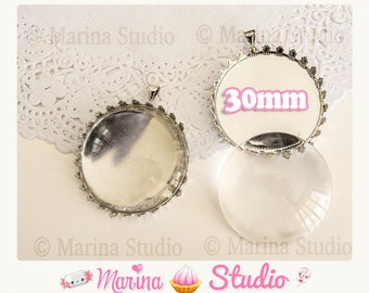 DIY Kit 2 pendants support cabochon metal with glass cabochon 30mm