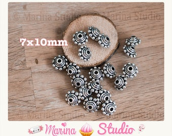 Set of 10 beads from bali and silver metal 3D 10x7MM ms00210 relif