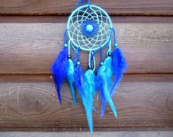 Dream catcher Turquoise and Navy Blue / real 30 cm