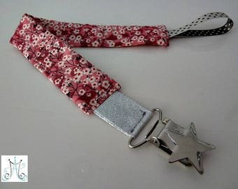 Pacifier clips star - fabric Liberty Mitsi Valeria pink