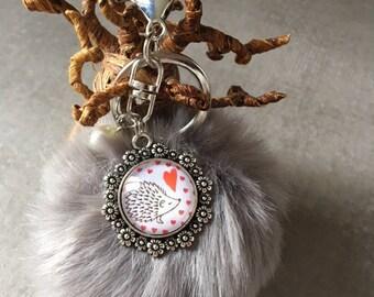 Love - Bag charm with tassel fur cabochon glass 20mm
