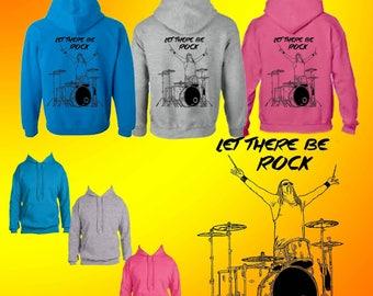 "AbbieTees original design ""Let There Be Rock"" hoodies - drummer"