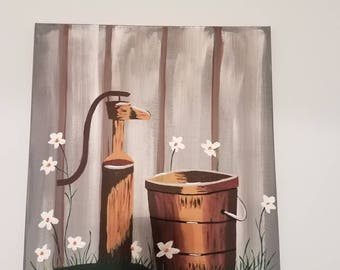acrylic painting of a water pump and bucket
