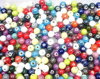 Assortment of colors of 10 mm X 40 PCs ceramic beads