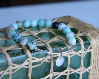 """Bangle Bracelet """"Callelongue"""" - collection creeks - amazonite and sterling silver - natural gemstone - boho chic - 153."""