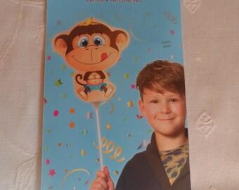 humorous birthday party colors monkey balloon pattern