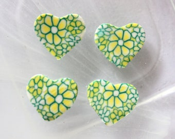 Green polymer heart bead