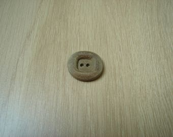 wood button round shape vintage square