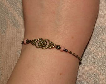 "Bracelet ""Antique Lov"". ~ * old pink, ivory, Ecru, bronze, original, fine, women gift, heart"