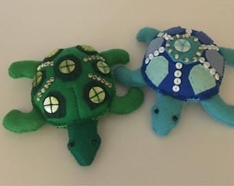Hand beaded turtle