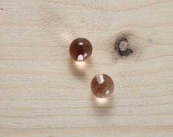 2 glass balls 6 mm hole / rose No. 1