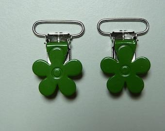 Pacifier clip-green flower