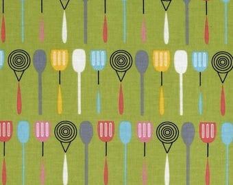 Everything nice utensils Kaufman green patchwork fabric