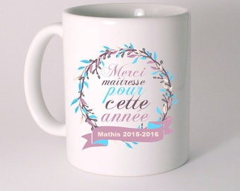 """MUG ceramic """"Thank you teacher for this year"""" customized with child's name"""