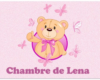 TEDDY BEAR PINK DOOR PLAQUE PERSONALISED WITH NAME