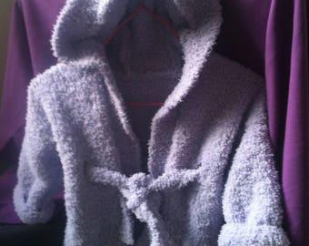 Peignoir à capuche 6 mois tricoté main