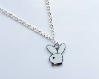White Playboy Silver Necklace