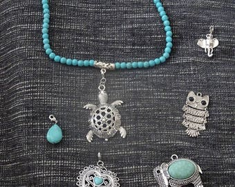 short necklace of pearls with multiple pendants to suit your tastes