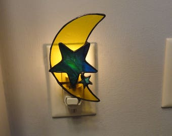 Stained Glass Moon and Stars Night Light