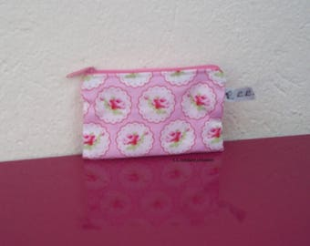 wallet pink cotton fabric with flowers
