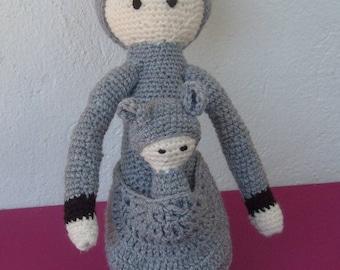 Kangaroo and her baby woolen grey