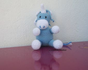 Unicorn crocheted blue and white wool