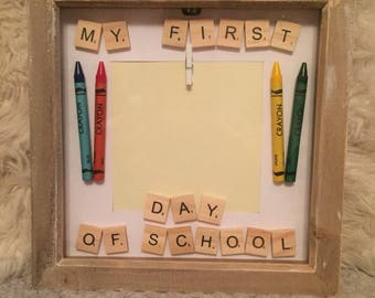 1st Day of School' scrabble art frame