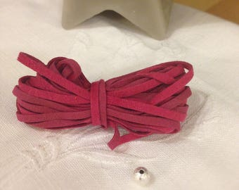 Pink suede MOKUBA cord sold by the yard - Bollywood