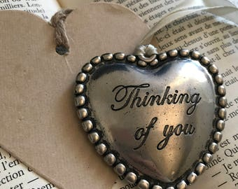 """Big heart metal vintage """"Thinking of you"""""""