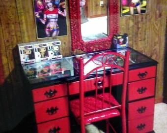 Harley Quinn custom makeup table/desk (will deliver)
