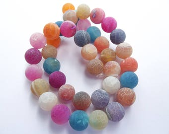 Multicolor agate frosted 10 mm TRIX 852 37 smooth round beads