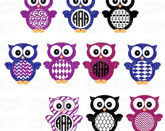 Owl SVG Cut Files, Owl Clipart, Owl Monogram Frames Cut Files for Cricut, Silhouette Studio_Digital Download
