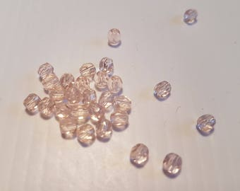 Faceted 4MM light peach