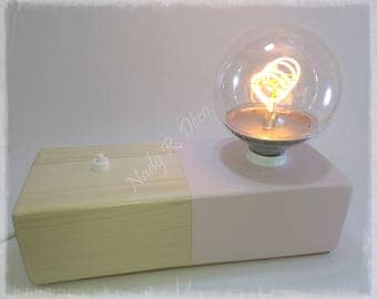 Block lamp rose wood and pine natural globe bulb