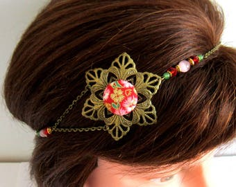 Flower headband red and bronze, romantic, head jewelry, Japanese cotton cabochon, Bridal hair accessories, red, green, pink, gold