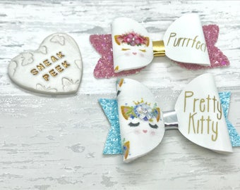 Personalised cat hair bow, kitten hair bow, Pink glitter bow, girls birthday gift, baby headband, personalised gift
