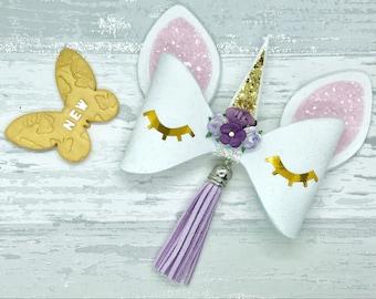 unicorn hair bow, unicorn hair clip, pink glitter hair bow, unicorn headband, novelty hair bow,