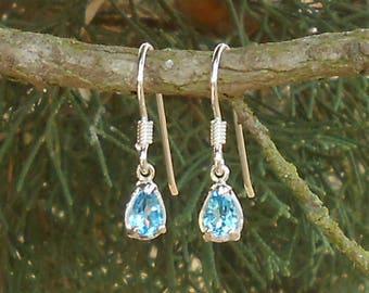 Earrings handmade earrings, 925 sterling silver, Blue Topaz Swiss PEAR cut faceted