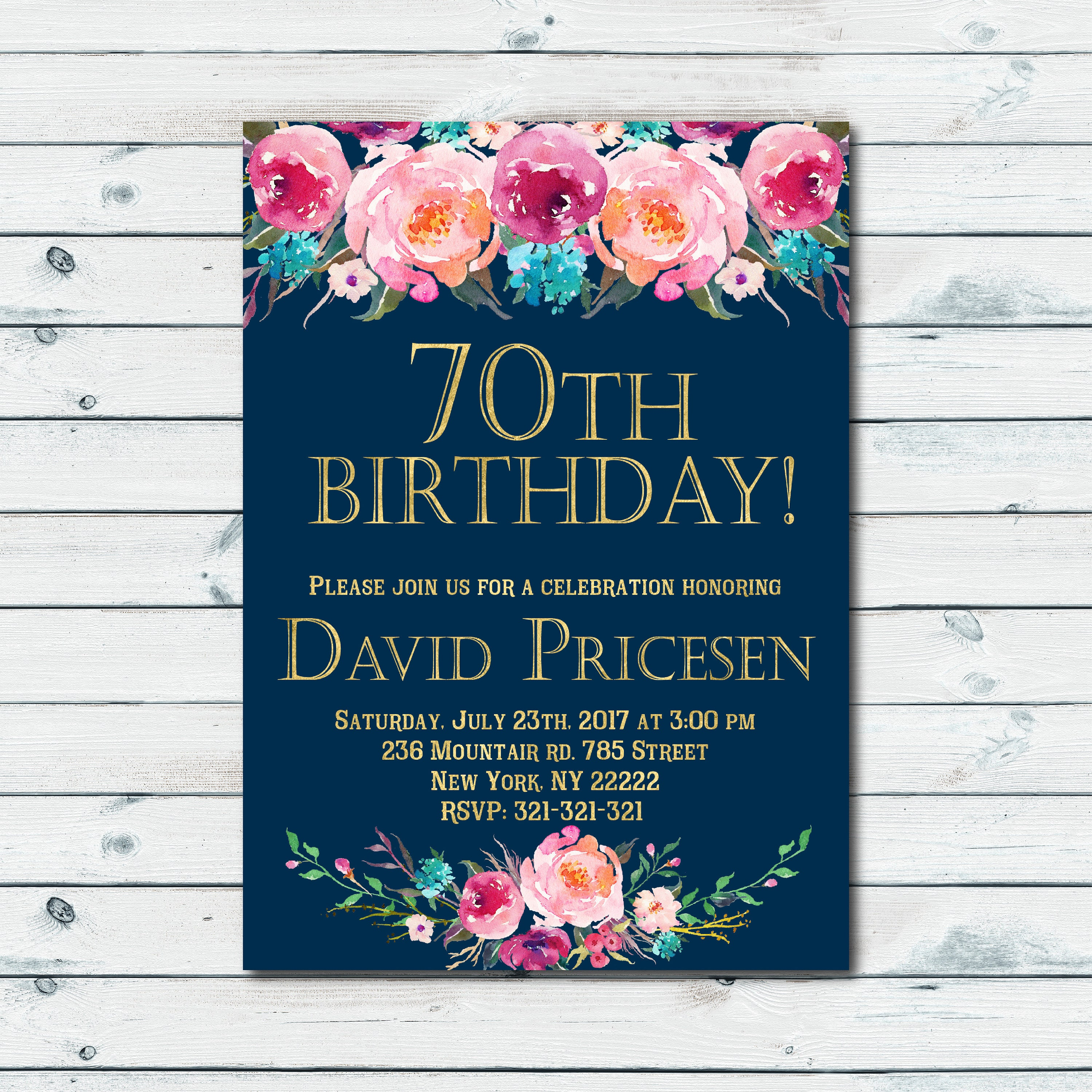 70th Birthday Invitation Women Birthday Invitation Floral Birthday