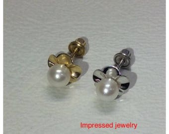 14K Yellow/White real Gold Fresh Water Flower White Pearl Screw Back Stud Earrings