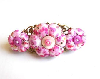 Pink flowers Saeed Barrette, handmade hair clip, handmade hair clip