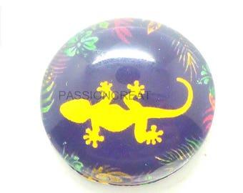 2 lizard multicolor black 20mm glass cabochon