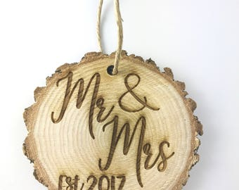 Mr and Mrs Custom Rustic Christmas Ornament